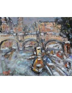 Péniche en bord de Seine