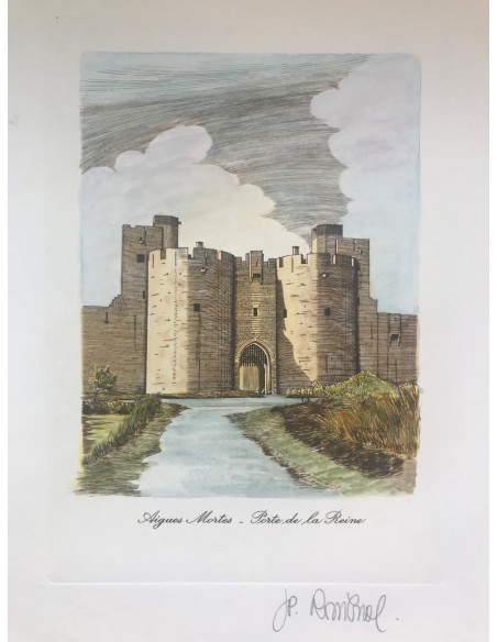 Tour de la Reine aquarellé - Aigues Mortes
