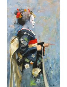 Maiko au kimono noir